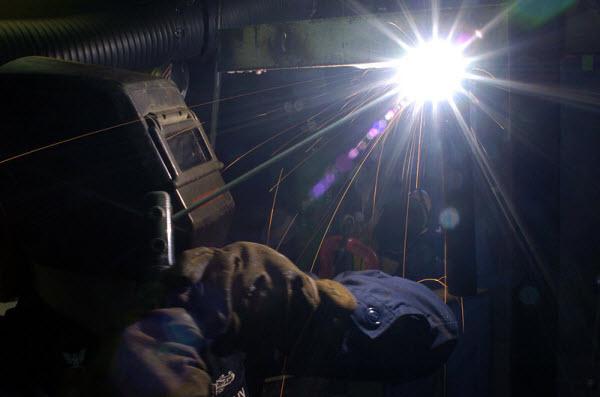 welding pipe overhead