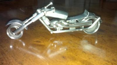mini motorcycle scrap metal sulpture
