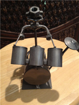 miniature drum set metal art