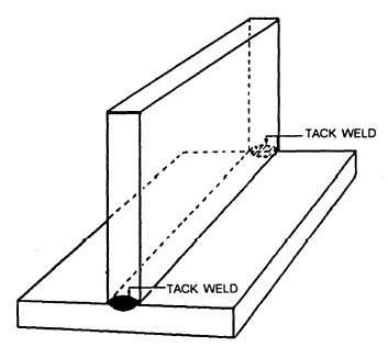 tack welded tee joint