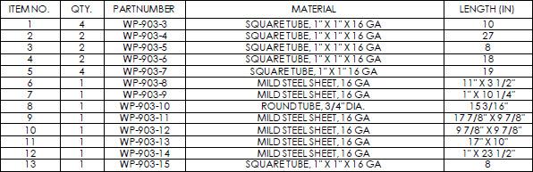 welding cart materials list