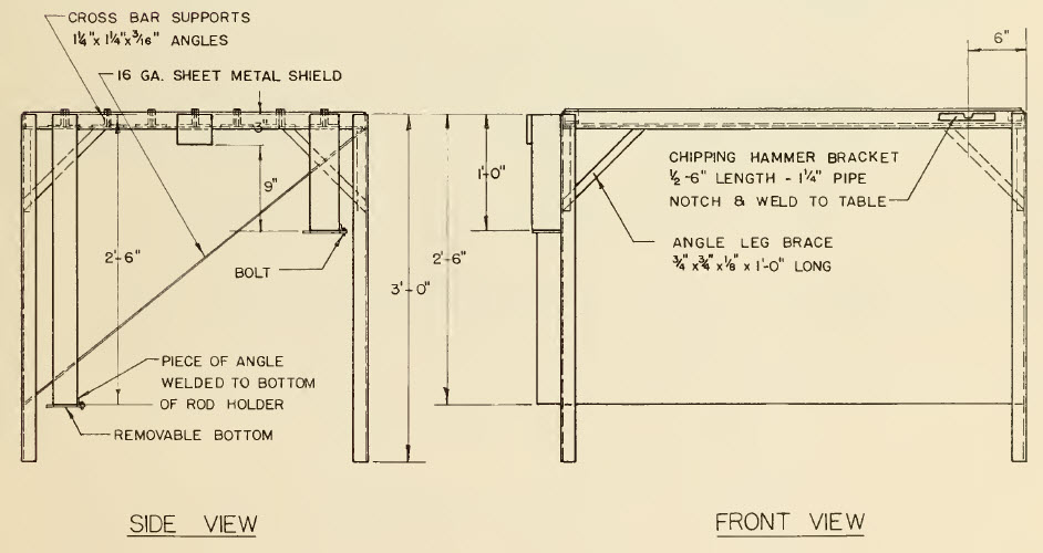 welding table front and side view