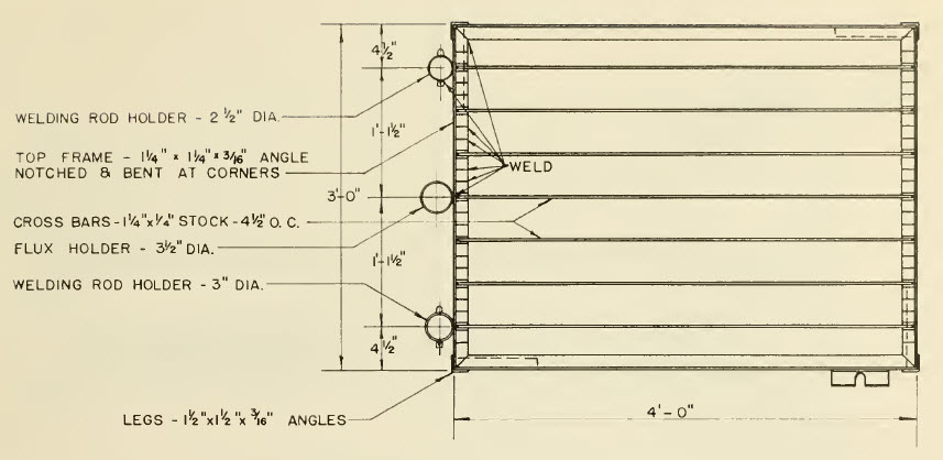 welding table plans top view
