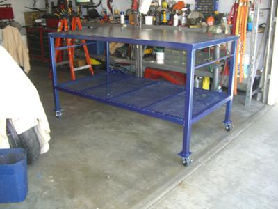 Welding Table Designs welding table with steel 2x3 rectangular tubing with round tubes through the ends as the Large Homemade Welding Table