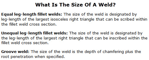weld size