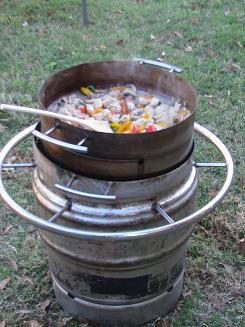 Using the lid to cook fajitas.