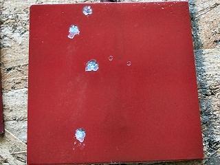red painted pellet target
