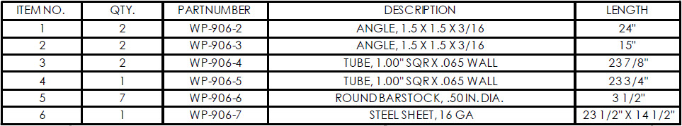weldments parts list