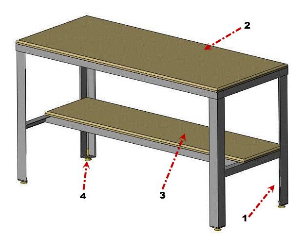 bench parts illustration